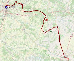 La carte du parcours de la sixième étape du Tour de France 2021 sur Open Street Maps