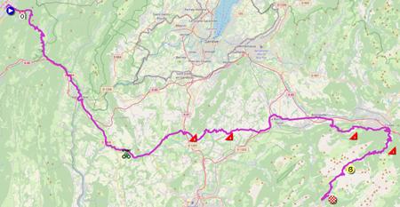La carte du parcours de la huitième étape du Tour de France 2021 sur Open Street Maps