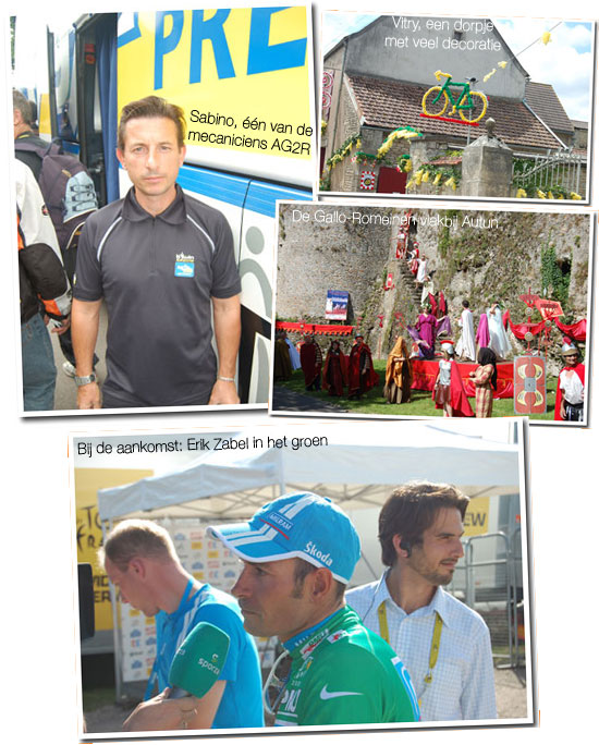 12 juli 2007: Chablis > Autun: Sabino - mecanicien voor AG2R, decoratie in Vitry en Gallo-Romeinen in Autun en Erik Zabel (Milram) in het groen