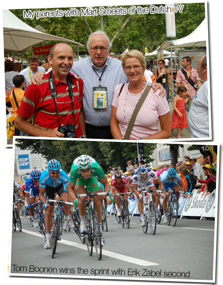 20 July 2007 - Montpellier > Castres : my parents with Mart Smeets of the Dutch TV and Tom Boonen wins the sprint with Erik Zabel second