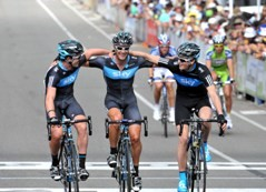 Team Sky celebrates it's double victory