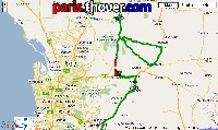 The map of the route of the stage Gawler > Hahnsdorf of the Tour Down Under 2010 on Google Maps