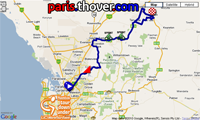 La carte du parcours de l'étape Mawson Lakes > Angaston du Tour Down Under 2011 sur Google Maps
