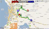 La carte du parcours de l'étape Tailem Bend > Mannum du Tour Down Under 2011 sur Google Maps