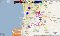 De kaart van het parcours van de etappe Unley > Stirling van de Tour Down Under 2011 op Google Maps