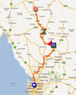 The map with the race route of the stage Prospect > Clare du Tour Down Under 2012 on Google Maps