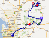 The map with the race route of the stage Norwood > Tanunda of the Tour Down Under 2012 on Google Maps