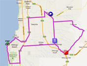 The map with the race route of the stage McLaren Vale > Old Willunga Hill of the Tour Down Under 2012 on Google Maps