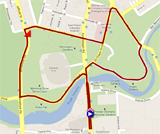The map with the race route of the stage Adelaide City Council Street Circuit of the Tour Down Under 2012 on Google Maps