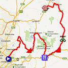 The map with the race route of the fourth stage of the Tour Down Under 2013 on Google Maps