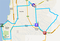 The map with the race route of the fifth stage of the Tour Down Under 2013 on Google Maps