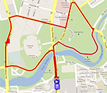 The map with the race route of the sixth stage of the Tour Down Under 2013 on Google Maps