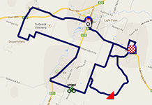 The map with the race route of the first stage of the Tour Down Under 2014 on Google Maps