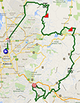 The map with the race route of the second stage of the Tour Down Under 2014 on Google Maps