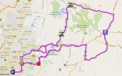 The map with the race route of the third stage of the Tour Down Under 2014 on Google Maps