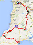 The map with the race route of the fourth stage of the Tour Down Under 2014 on Google Maps