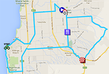 The map with the race route of the fifth stage of the Tour Down Under 2014 on Google Maps