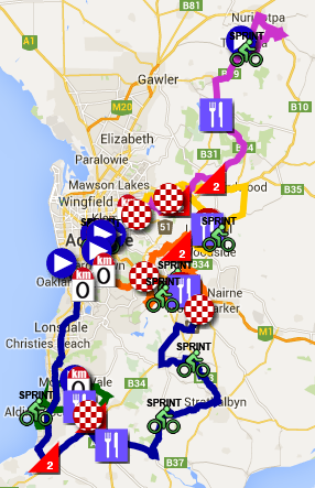 The Tour Down Under 2015 race route