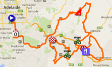 The map with the race route of the second stage du Tour Down Under 2015 sur Google Maps