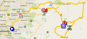 The map with the race route of the third stage du Tour Down Under 2015 sur Google Maps