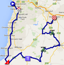 The map with the race route of the fourth stage du Tour Down Under 2015 sur Google Maps