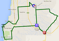 The map with the race route of the fifth stage du Tour Down Under 2015 sur Google Maps