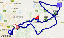 The map with the race route of the fourth stage of the Tour Down Under 2017 on Google Maps