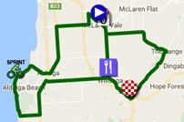 The map with the race route of the fifth stage of the Tour Down Under 2017 on Google Maps