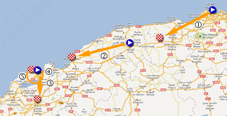La carte avec le parcours du Tour d'Algérie 2012