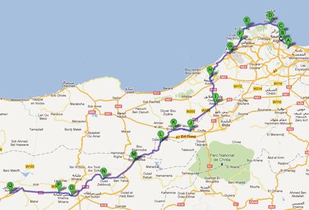 La carte avec le parcours de la 1ère étape du Tour d'Algérie 2012