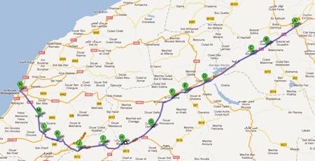 La carte avec le parcours de la 2ème étape du Tour d'Algérie 2012
