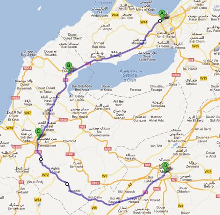 La carte avec le parcours de la 3ème étape du Tour d'Algérie 2012