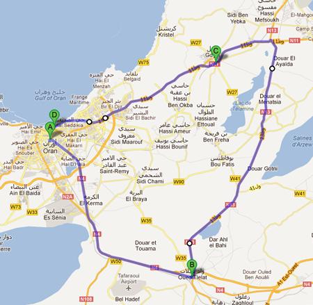 La carte avec le parcours de la 4ème étape du Tour d'Algérie 2012