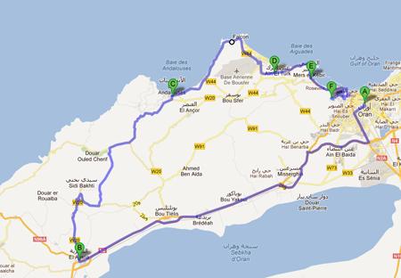 La carte avec le parcours de la 5ème étape du Tour d'Algérie 2012