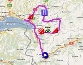 De kaart met het parcours van de eerste etappe van de Ronde van Romandië 2011 op Google Maps