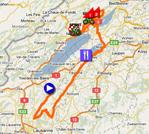 De kaart met het parcours van de derde etappe van de Ronde van Romandië 2011 op Google Maps