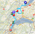 The race route of the fifth stage of the Tour de Romandie 2011 on Google Maps