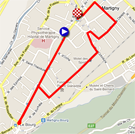 De kaart met het parcours van de proloog van de Ronde van Romandië 2011 op Google Maps