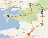 La carte avec le parcours du Tour du Finistère 2012 sur Google Maps