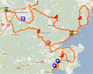 The map with the race route of the stage La Croix Valmer > Grimaud of the Tour du Haut Var 2011 on Google Maps