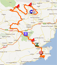The route map of the first stage of the Tour du Haut Var 2012 on Google Maps