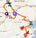 The map with the race route of the first stage of the Tour du Haut Var-Matin 2013 on Google Maps