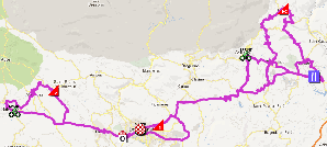 The map with the race route of the second stage of the Tour du Haut Var-Matin 2013 on Google Maps