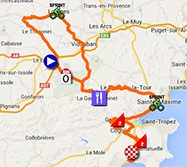 The map with the race route of the first stage of the Tour Haut Var-Matin 2014 on Google Maps