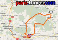 The route map of the second stage of the Tour du Limousin 2010 on Google Maps