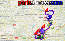 The route map for the third stage of the Tour du Limousin 2010 on Google Maps