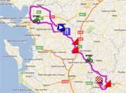 The map with the race course of the first stage of the Tour Poitou-Charentes 2011 on Google Maps