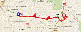 The map with the race course of the third stage of the Tour Poitou-Charentes 2011 on Google Maps