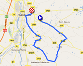 The map with the race course of the fourth stage of the Tour Poitou-Charentes 2011 on Google Maps