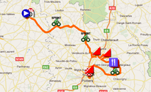The map with the race course of the fifth stage of the Tour Poitou-Charentes 2011 on Google Maps